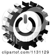 Clipart Of A Grayscale Power Gear Cog Icon Royalty Free Vector Illustration by Andrei Marincas