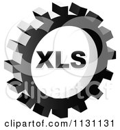 Clipart Of A Grayscale XLS Gear Cog Icon Royalty Free Vector Illustration by Andrei Marincas