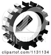 Clipart Of A Grayscale Pencil Gear Cog Icon Royalty Free Vector Illustration by Andrei Marincas