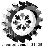 Clipart Of A Grayscale Doc Gear Cog Icon Royalty Free Vector Illustration by Andrei Marincas