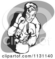 Clipart Of A Retro Male Athlete Boxer Man Over Gray Royalty Free Vector Illustration
