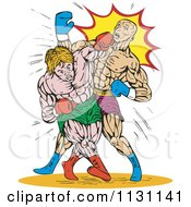 Clipart Of Retro Male Boxers Throwing Punches Royalty Free Vector Illustration by patrimonio