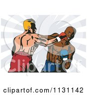 Clipart Of Retro Boxers Throwing Punches Royalty Free Vector Illustration