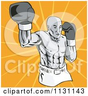 Clipart Of A Retro Male Athlete Boxer Man Over Rays Royalty Free Vector Illustration