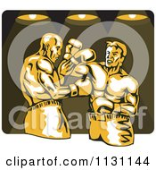 Clipart Of Retro Male Boxers Fighting Under Lights Royalty Free Vector Illustration