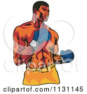 Clipart Of A Retro Male Athlete Boxer Man Royalty Free Vector Illustration