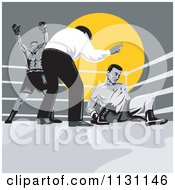 Clipart Of Retro Referee Counting Down At Boxers In A Ring Royalty Free Vector Illustration
