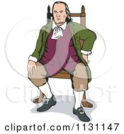 Clipart Of Benjamin Franklin Sitting In A Chair Royalty Free Vector Illustration