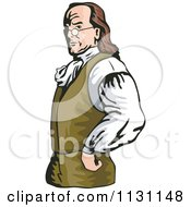 Clipart Of Benjamin Franklin With His Hands On His Hips Royalty Free Vector Illustration