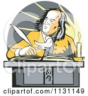Clipart Of Benjamin Franklin Writing At A Desk Royalty Free Vector Illustration