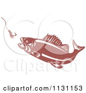 Clipart Of A Retro Largemouth Bass Fish Chasing A Hook And Lure Royalty Free Vector Illustration by patrimonio