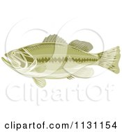 Clipart Of A Retro Green Largemouth Bass Fish In Profile Royalty Free Vector Illustration by patrimonio
