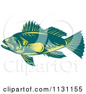 Clipart Of A Retro Teal And Yellow Largemouth Bass Fish In Profile Royalty Free Vector Illustration by patrimonio