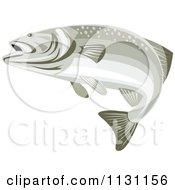 Clipart Of A Retro Bass Fish Swimming Royalty Free Vector Illustration by patrimonio
