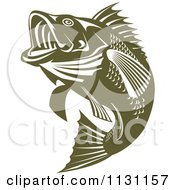 Clipart Of A Retro Green Jumping Largemouth Bass Fish Royalty Free Vector Illustration by patrimonio