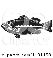 Clipart Of A Retro Black And White Largemouth Bass Fish In Profile Royalty Free Vector Illustration by patrimonio