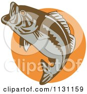 Clipart Of A Retro Leaping Largemouth Bass Fish Over An Orange Circle Royalty Free Vector Illustration by patrimonio
