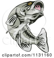 Clipart Of A Retro Leaping Largemouth Bass Fish Royalty Free Vector Illustration by patrimonio