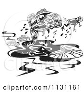 Clipart Of A Retro Black And White Largemouth Bass Fish Chasing A Frog Royalty Free Vector Illustration by patrimonio