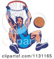 Clipart Of A Retro Male Basketball Athlete Hanging From A Hoop Royalty Free Vector Illustration