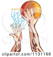 Clipart Of Retro Male Athlete Hands Dunking A Ball Royalty Free Vector Illustration