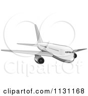 Clipart Of A Retro White Commercial Airliner Plane Royalty Free Vector Illustration