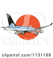 Clipart Of A Retro Blue Commercial Airliner Plane Against The Sunset Royalty Free Vector Illustration