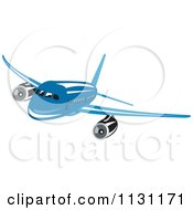 Clipart Of A Retro Blue Commercial Airliner Plane Royalty Free Vector Illustration