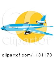 Clipart Of A Retro Blue Commercial Airliner Plane Against The Sun Royalty Free Vector Illustration