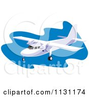 Clipart Of A Retro Plane Over Blue Royalty Free Vector Illustration
