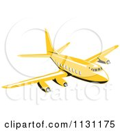 Clipart Of A Retro Yellow Commercial Airliner Plane Royalty Free Vector Illustration