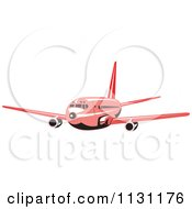 Clipart Of A Retro Red Commercial Airliner Plane Royalty Free Vector Illustration