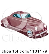 Clipart Of A Retro Vintage Red Car Royalty Free Vector Illustration