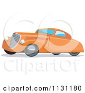 Clipart Of A Retro Vintage Orange Car Royalty Free Vector Illustration