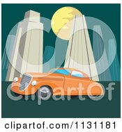 Clipart Of A Retro Vintage Orange Car In A City At Night Royalty Free Vector Illustration by patrimonio