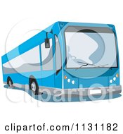 Clipart Of A Blue Tour Bus Royalty Free Vector Illustration
