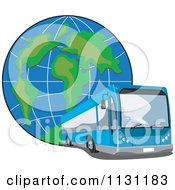 Clipart Of A Blue Tour Bus And Globe Royalty Free Vector Illustration