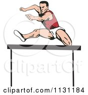 Clipart Of A Retro Male Athlete Jumping A Hurdle 4 Royalty Free Vector Illustration