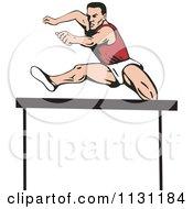 Retro Male Athlete Jumping A Hurdle 4