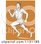 Clipart Of A Retro Sketched Male Runner Over Orange Royalty Free Vector Illustration by patrimonio