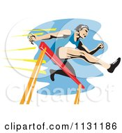 Clipart Of A Retro Male Athlete Jumping A Hurdle 3 Royalty Free Vector Illustration