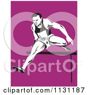 Clipart Of A Retro Male Athlete Jumping A Hurdle 2 Royalty Free Vector Illustration
