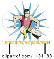 Clipart Of A Retro Male Athlete Jumping A Hurdle 1 Royalty Free Vector Illustration