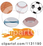 Clipart Of Sports Balls With One On Fire Royalty Free Vector Illustration