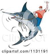 Poster, Art Print Of Rodeo Man Riding A Marlin