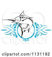 Clipart Of A Retro Marlin Over Blue Swirls Royalty Free Vector Illustration