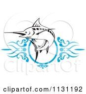 Retro Marlin Over Blue Swirls