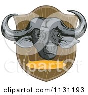 Clipart Of An African Cape Buffalo Hunting Trophy Head Royalty Free Vector Illustration