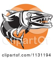 Clipart Of A Retro Black And White Barracuda And Orange Circle Royalty Free Vector Illustration by patrimonio