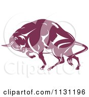 Clipart Of A Retro Woodcut Charging European Bison Royalty Free Vector Illustration